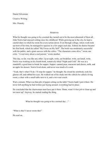 writing a short story assignment Writing your own short story assignment now that we have read a few short stories (not to mention the many you have read in the past), it is time for you to try your hand at crafting your own short story.