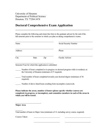 Doctoral Comprehensive Exam Application - Political Science ...