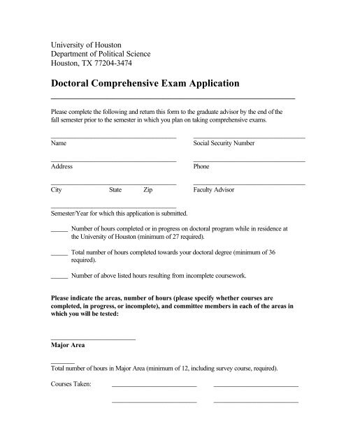 Doctoral Comprehensive Exam Application - Political Science