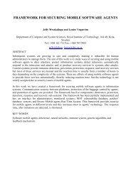 FRAMEWORK FOR SECURING MOBILE SOFTWARE AGENTS - ICSA