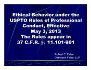 Ethical Behavior under the USPTO Rules of Professional Conduct ...