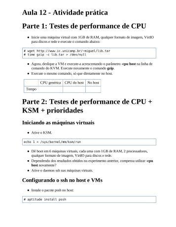 Aula 12 - Atividade prática Parte 1: Testes de performance de CPU ...