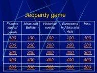 Jeopardy game - Mr. Schuhmann's Social Studies Class