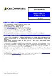 CONTO CORRENTE DIPENDENTI CCB - Cassa Centrale Banca