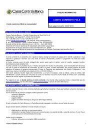 CONTO CORRENTE FOLK - Cassa Centrale Banca