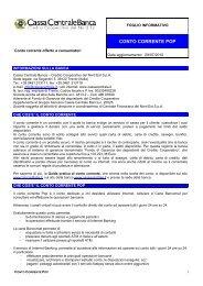 CONTO CORRENTE POP - Cassa Centrale Banca