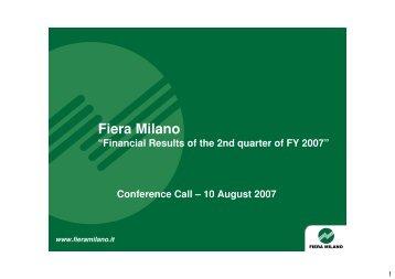 Presentazione_Conference_Call_2007_08_10 1 - Fiera Milano