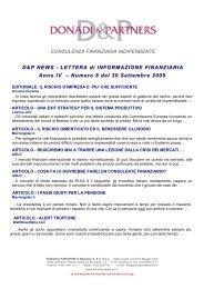 D&P News Anno 4 n. 8 del 30 settembre 2009 - donadiandpartners.it