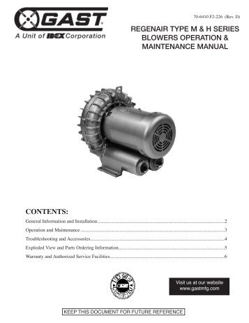 regenair type m & h series blowers operation & maintenance manual