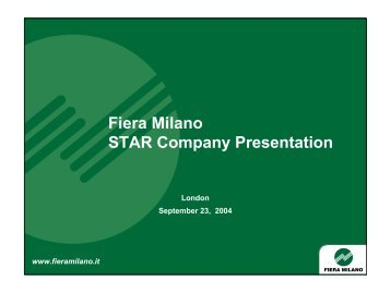 FY as at 30.6.2005 STAR Company Presentation - Fiera Milano