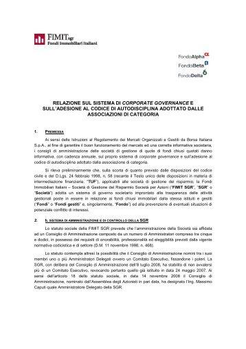 Relazione sul sistema di Corporate Governance - Delta