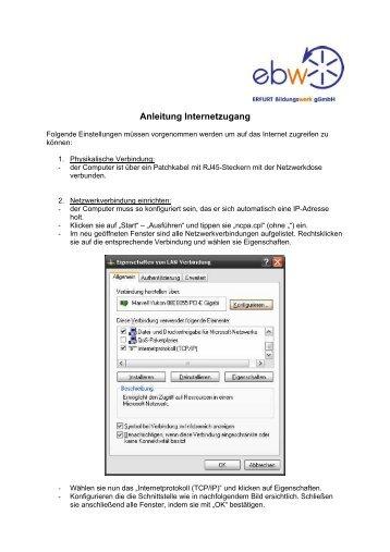 Anleitung Internetzugang