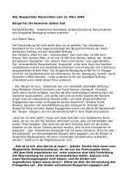 WZ; Wuppertaler Nachrichten vom 22. März 2008 BürgerTal: Die ...