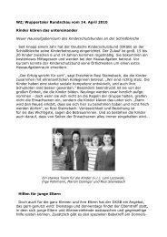 WZ; Wuppertaler Rundschau vom 14. April 2010 Kinder klären das ...