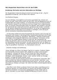 WZ; Wuppertaler Nachrichten vom 29. April 2006 Erziehung: Die ...