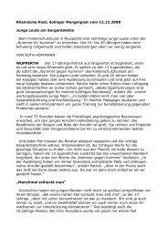 Rheinische Post; Solinger Morgenpost vom 12.12.2008 Junge Leute ...