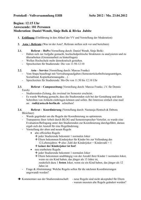 Protokoll - Vollversammlung EHB SoSe 2012 / Mo ... - KeinDrama