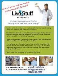 for information or to reserve a workshop - Live Stuff