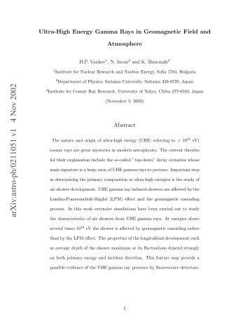 UHE Gamma Rays.pdf - HENA High Energy Nuclear Astrophysics ...