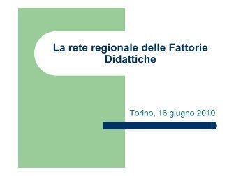 La rete regionale delle Fattorie Didattiche - Piemonte Agri