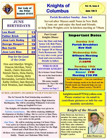 Knights of Columbus Newsletter - Vol. 10 Issue 6 - JUNE 2012
