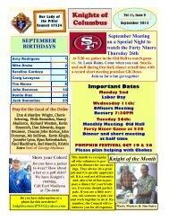 Knights of Columbus Newsletter - Vol. 11 Issue 9 - September 2013