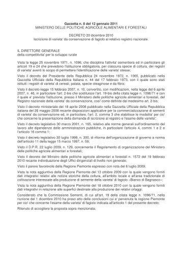 Decreto Ministeriale - Piemonte Agri