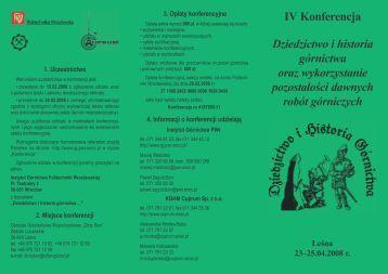 IV Konferencja Dziedzictwo i historia górnictwa oraz wykorzystanie ...