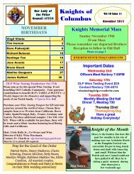 Knights of Columbus Newsletter - Vol 10 Issue 11 - NOVEMBER 2012