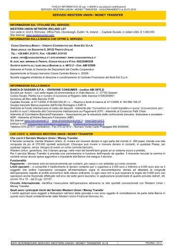 servizio western union / money transfer - Cassa Centrale Banca