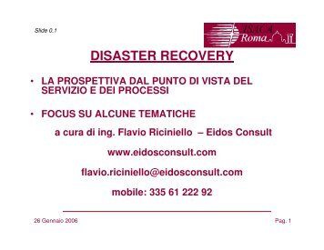DISASTER RECOVERY - ISACA Roma