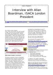 Interview with Allan Boardman, ISACA London ... - ISACA Roma