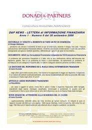 D&P News Anno 1 n. 0 del 30 settembre 2006 - donadiandpartners.it