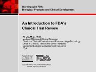 Working with FDA: Biological Products and Clinical Development An ...