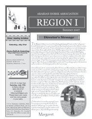 Summer 2007 - Region 1 Arabian Horse Association