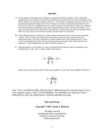 Special Relativity Energy Formulas - Millennium Relativity