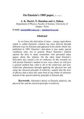 On Einstein's 1905 paper, . Abstract - Millennium Relativity