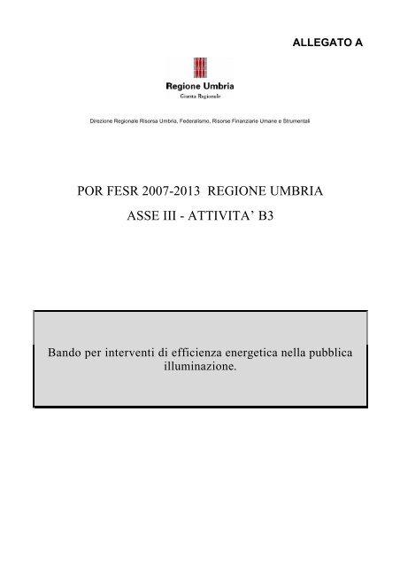 I bando pubblica illuminazione - Regione Umbria