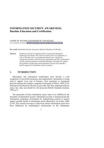 Information Security Awareness: - ICSA
