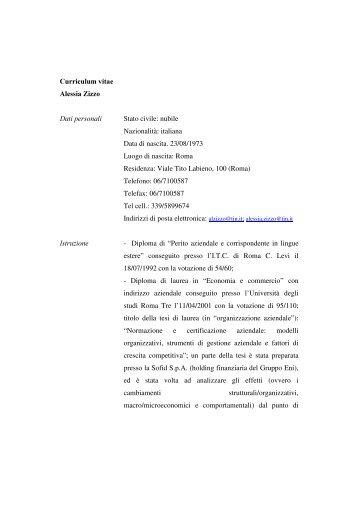 Curriculum vitae Alessia Zizzo Dati personali Stato civile ... - APB