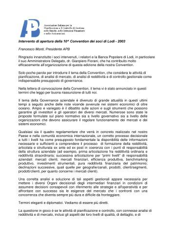 Dr. Francesco Monti, Presidente, APB