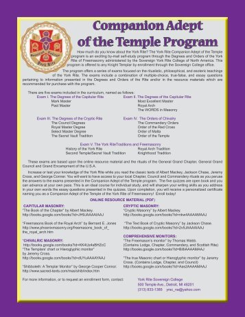 Companion Adept of the Temple Program - York Rite Sovereign ...