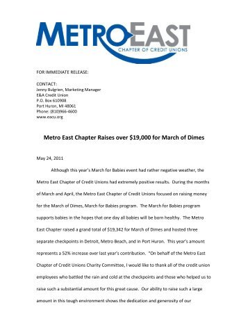 March for Babies - MCUL Metro East Chapter