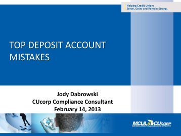 TOP DEPOSIT ACCOUNT MISTAKES - Michigan Credit Union League