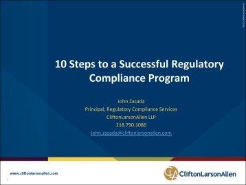 10 Steps to a Successful Regulatory Compliance Program