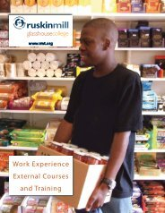 Work Experience External Courses and Training - Ruskin Mill Trust