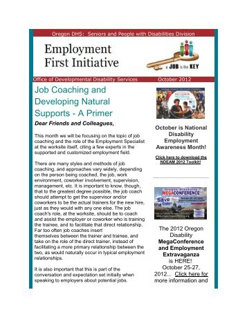 Job Coaching and Developing Natural Supports - A ... - DHS home