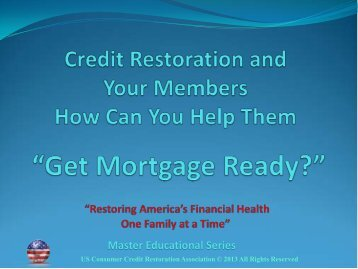 Credit Restoration - Michigan Credit Union League