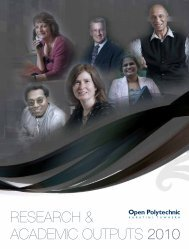 ACADEMIC OUTPUTS 2010 RESEARCH & - Open Polytechnic