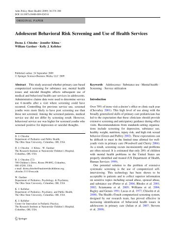 Adolescent Behavioral Risk Screening and Use of Health Services